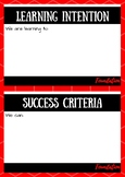 Learning Intention and Success Criteria Posters