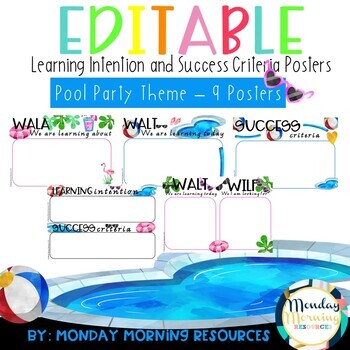 Editable Learning Intention and Success Criteria Posters - Pool Party theme