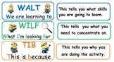 Learning Intention signs WALT/WILF/TIB *Minion theme* #aussiebts