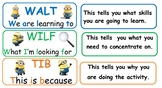 Learning Intention signs WALT/WILF/TIB *Minion theme*