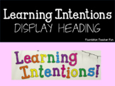 Learning Intentions Display Title