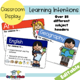 Learning Intentions . EDITABLE