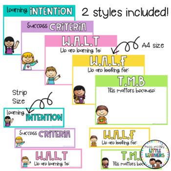 Learning Intentions Posters - WALT / WALF / WILF {Rainbow Classroom Decor}
