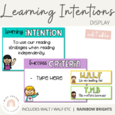 Learning Intentions Posters - WALT / WALF / WILF {Rainbow