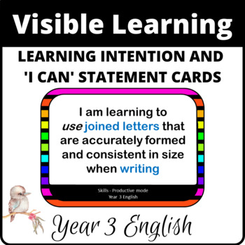 Learning Intentions and I can statements for Year 3 English
