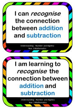 Learning Intentions and I can statements for Year 3 Mathematics