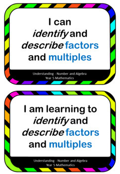 Learning Intentions and I can statements for Year 5 Mathematics