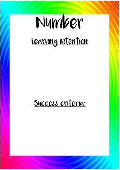 Learning Intentions and Success Criteria