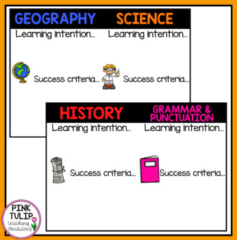Learning Intentions and Success Criteria - Classroom Display