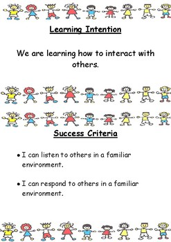 Learning Intentions and Success Criteria for 'Identity and Inclusion'