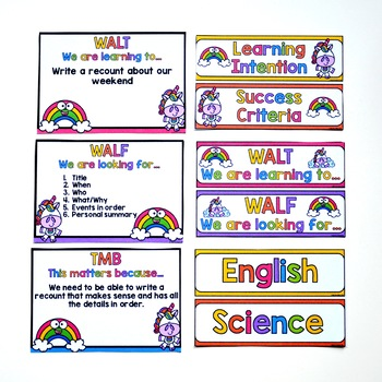 Learning Intentions and Success Criteria - Neon Rainbow Unicorn