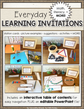 Learning Invitations: Full Day Kindergarten, Early Learning, First Grade