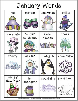 Learning January Words K-4
