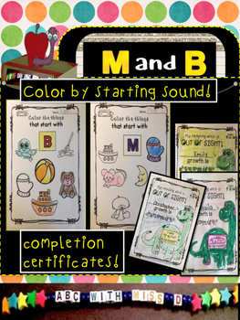 Learning Letters M and B- Minibooks, picture sorts, coloring, sight words