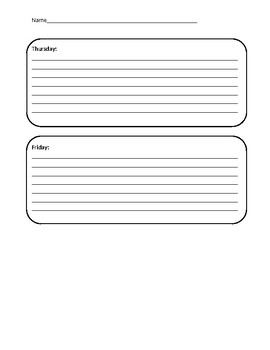 Learning Log Weekly Template