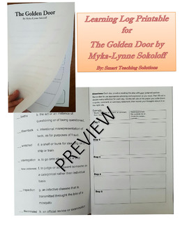 "Learning Log for ""The Golden Door"" by Myka-Lynne Sokoloff"