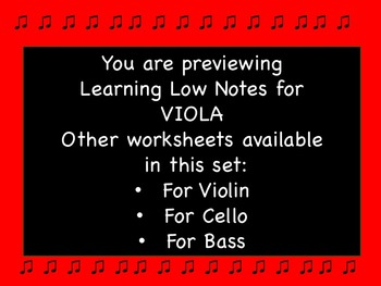 Learning Low Notes for VIOLA Worksheet