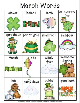 Learning March Words K-4