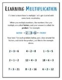 Learning Multiplication - Basic Terminology Worksheet