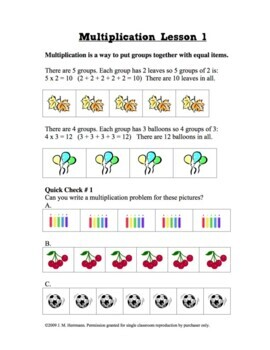Learning Multiplication Facts