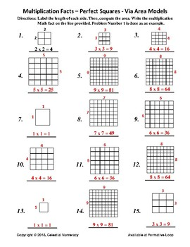Multiplication Facts - Perfect Squares - Via Area Models (FREE)