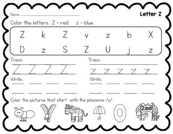 Learning My Letters Z