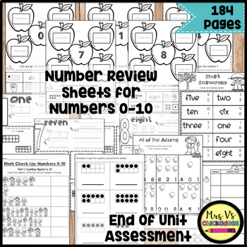 Numbers 0-10: Number Words, Ten Frames, Tally Marks, Finger Counting, Dice
