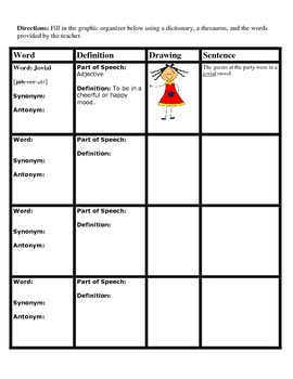 Learning New Words Graphic Organizer/Word Wall/Dictionary