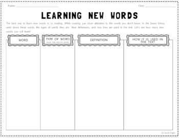 Learning New Words: Worksheet for Learning New Words While Reading