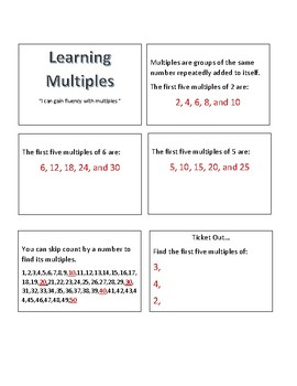 Learning Number Multiples