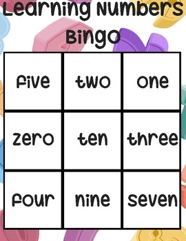 Learning Number Words Bingo Game