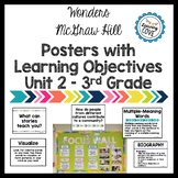 Learning Objective Posters - Focus Wall - Wonders McGraw Hill 3rd Grade Unit 2