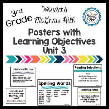 Learning Objective Posters - Focus Wall - Wonders McGraw Hill 3rd Grade Unit 3