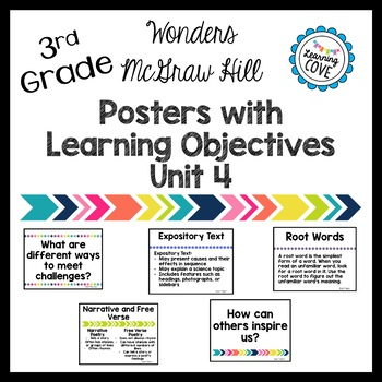 Learning Objective Posters - Focus Wall - Wonders McGraw Hill 3rd Grade Unit 4