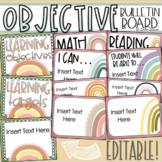 Learning Objectives Bulletin Board Display Posters Boho Rainbow Theme Editable