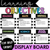 Learning Objectives Display Board | Black & Bright Colorful I Can Statements