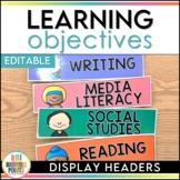 Learning Objectives Display Headers - Editable