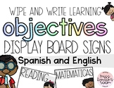 Learning Objectives Display (Spanish and English)