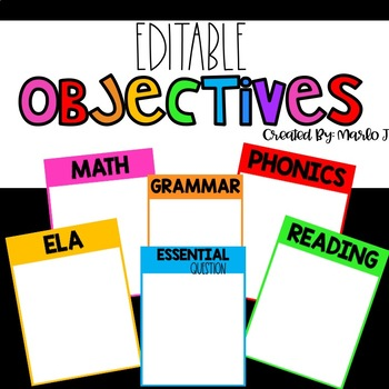 Learning Objectives Editable Bright Colors