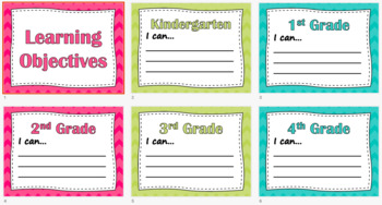 Learning Objectives/I Can Statements (Pastels)