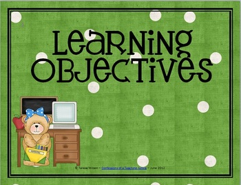 Learning Objectives Posters - Bears-Apple-Polka Dots Theme