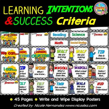 Learning Intentions, Success Criteria Display {Black and White Chevron Themed}