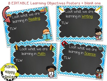 Learning Objectives Posters (EDITABLE) Aqua and Chalkboard Theme