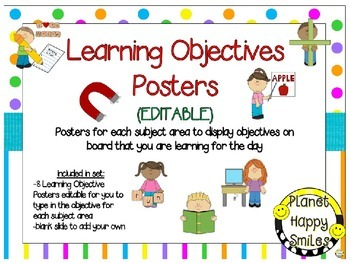 Learning Objectives Posters (EDITABLE) ~ Bright Polka Dots & Stripes