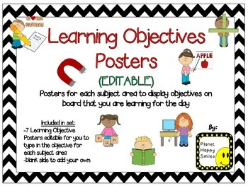 Learning Objectives Posters (EDITABLE) ~ Chevron B/W Print
