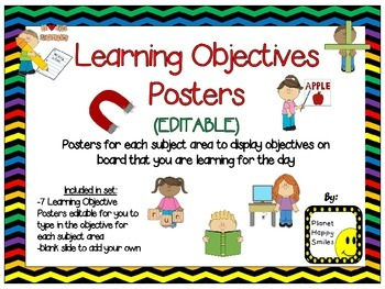 Learning Objectives Posters (EDITABLE) ~ Chevron Rainbow P