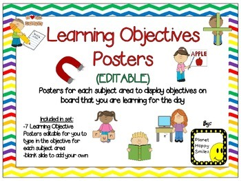 Learning Objectives Posters (EDITABLE) ~ Chevron Rainbow Print with white bkgd