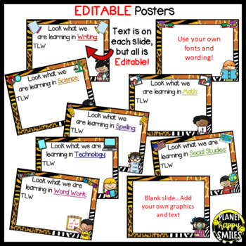 Learning Objectives Posters (EDITABLE) ~ Jungle/Safari Theme