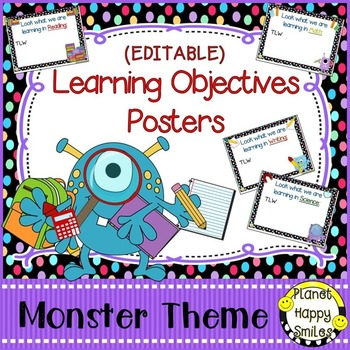 Learning Objectives Posters (EDITABLE) Monster Theme