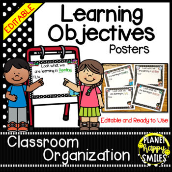 Learning Objectives Posters (EDITABLE) ~ Polka Dot B/W Print